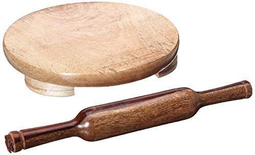 TabakH Manuelle Holz Roti Chapati-Fladenbrot Tortilla Nähfuß Maker mit Teigrolle, 25,4cm Tortilla Roti Maker