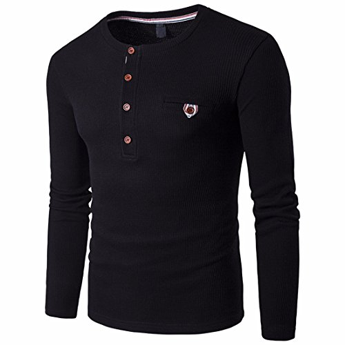 QIYUN.Z Mens Henley Neck Shirt Langarm Schlanke Passform Knopf Casual Henley Shirts Schwarz