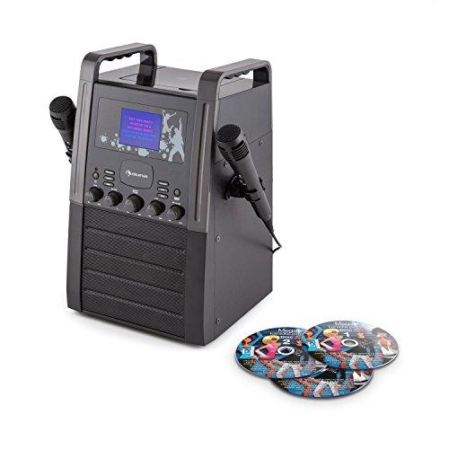 auna KA8P-V2 BK • Sistema Karaoke • Karaoke per Bambini • Set Karaoke • Display TFT 9 cm • 2 x Microfono • 3 CD Karaoke Inclusi • Uscita RCA • CD • CD+G • MP3 • Ingresso AUX • Effetto Eco • Nero