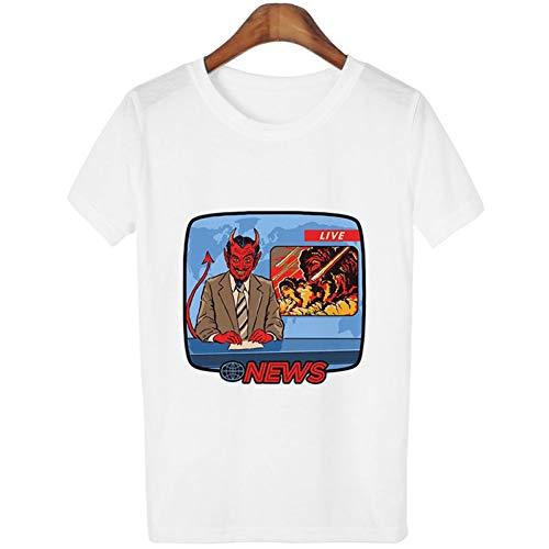 ZCYTIM 80 s 90 s Koreanische Stil Kleidung Lustige Vintage T-Shirt Teufel Nachrichten Live Gedruckt T-Shirt Oansatz Kurz Hülse Weibliche t-Shirt