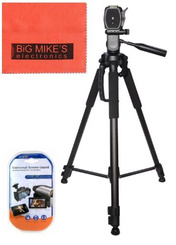 Big Mike's Deluxe 72-inch Professional Camera And Camcorder Tripod For Sony HDR-CX160 HDR-CX190 HDR-CX200 HDR-CX210 HDR-CX220 HDR-CX230 HDR-CX260V HDR-CX290 HDR-CX300 HDR-CX305 HDR-CX380 HDR-CX430V HDR-PJ200 HDR-PJ230 HDR-PJ260V HDR-PJ380 HDR-PJ430V HDR-PJ580V HDR-PJ650V HDR-PJ710V HDR-PJ760V HDR-PV790V HDR-TD20V HDR-TD30V Handycam Camcorder