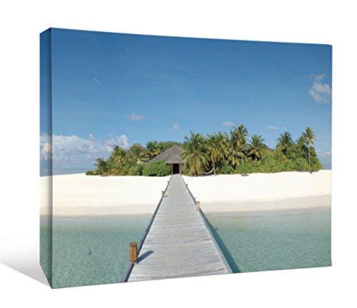 JP London Promenade Brücke zu Tropical Island Beach Cottage Gallery Wrap Heavyweight Canvas Art Wanddekoration, 1,5'Hohe, 2' Breite (Island Cottage)