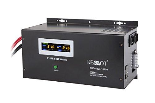 KEMOT urz3411, Alimentation d'urgence Convertisseur Pur Sinus Fonction de Charge, 12 V, 230 V, 3000 VA/1600 Noir