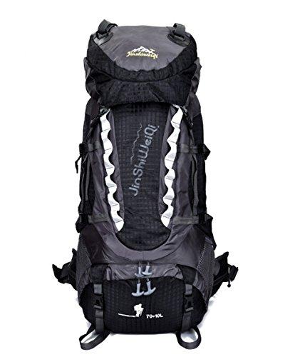 OSOPOLA groß 80L Wander Zelten Outdoor Sport Rucksack Wasserbeständigkeit Tagesrucksack Reisen Racksuck für Männer Frauen mit Extern Rahmen Schwarz
