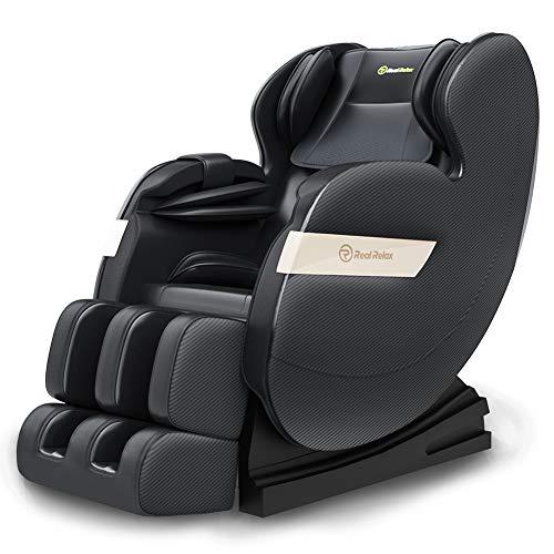 Real Relax 2020 Massagesessel, Zero Gravity für Ganzkörper mit Heizung und Fußrollen Bluetooth und LED-Licht, Schwarz