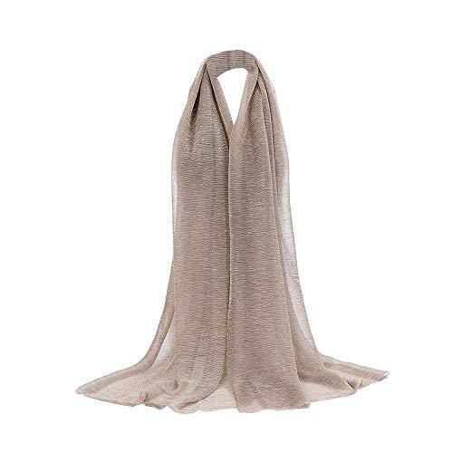 Rovinci Mode Femmes Couleur Unie Fil d'or Plier de Plein Air Longue Doux Emballage Écharpe Châle Écharpe Châle Foulard étole (Kaki)