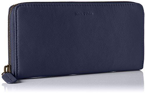 Marc O'Polo Damen Zip Wallet M Geldbörse, Blau (Blue), 10x2.5x19 cm (Zipper Leder Wallet Geldbörse)