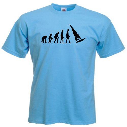 41BuM7EWYeL - Evolution of man windsurfing T-shirt 390 - Sky blue - Small sports best price Review uk