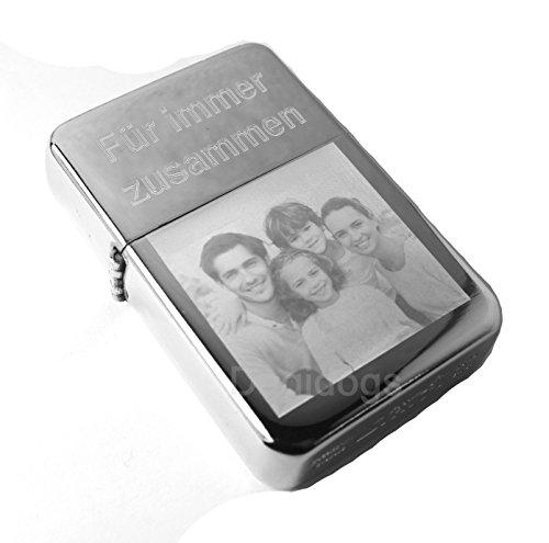 Benzinfeuerzeug mit Fotogravur personalisiert chrompoliert von Dogidogs