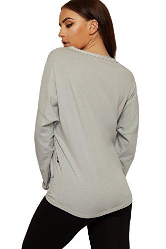 WEARALL Damen Ripped Batwing Sweatshirt Top Damen Bekümmert Tauchen Saum Hi Lo Lang Hülle - 36-42 Hellgrau