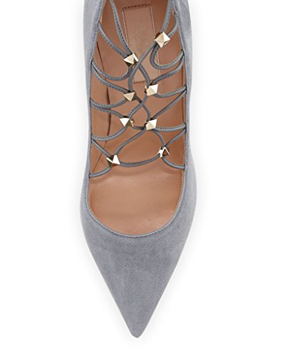 Kolnoo Damen Handgefertigte Rivest Spikes Wildleder Lace-Up 105mm High Heel Pumps Schuhe Gray