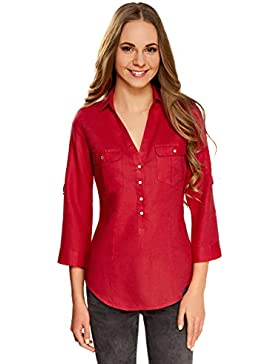 oodji Collection Mujer Blusa de Lino con Bolsillos