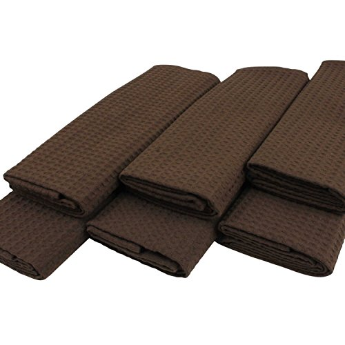lot-de-6-torchons-a-vaisselle-100-coton-gaufre-pique-en-uni-fonce-marron-moka-chocolat-50-x-70-cm-be