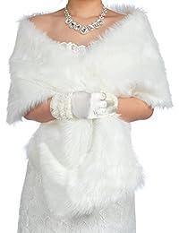 Dresstells®Mujer Chal Estola Bufanda De Piel Sintéica Para Vestido De Fiesta Boda Invierno 165cmX30cm