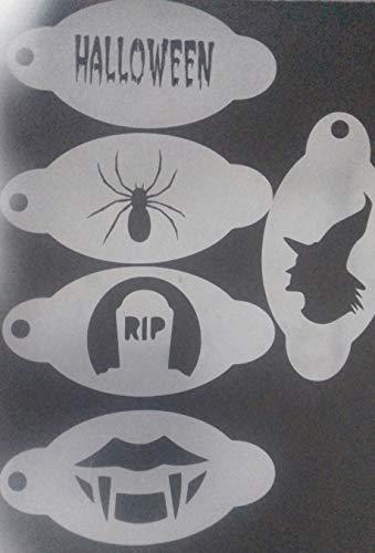 os Halloween face Painting Schablonen - 5 Verschiedene Designs wiederverwenden oft Spinne Ruhe in Frieden Hexe ()
