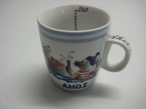 Tasse/ Kinderbecher 'Ahoi' Seehunde im Meer mit Mütze / Innen Ebbe und Flut 0,3l