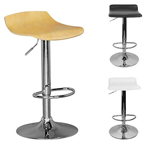 FineBuy TOKIO | Taburete con asiento de madera | Las heces son regulables en altura | Diseñar Taburete sin respaldo | silla de escritorio ajustable y sin ruedas