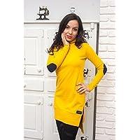 Gelbes Tunika Kleid mit Kapuze, 100% Baumwolle. Qualität Damen Tunika in S / M / L / XL Größen
