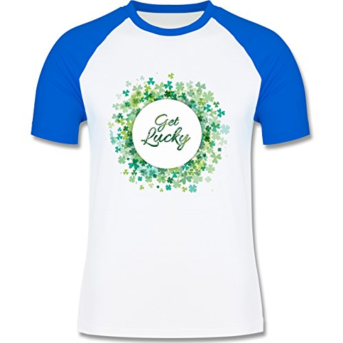 Shirtracer Festival - Get Lucky Kleeblatt Glück St. Patrick's Day - Herren Baseball Shirt Weiß/Royalblau