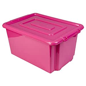 new whitefurze plastic stackable container large pink storage box with lid 52l. Black Bedroom Furniture Sets. Home Design Ideas