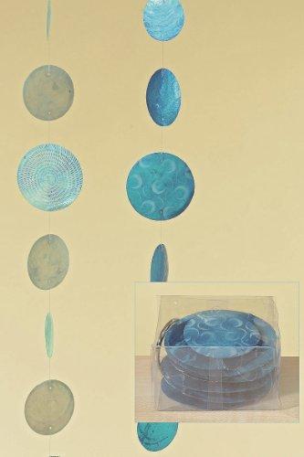 Zimmergirlande, Dekogirlande Capiz aus runden Elementen, in blau/türkis, sortiert, 1 Stück, Länge ca. 180 cm