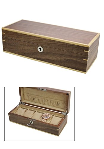 "SAFE 3020 Holz Uhrenkoffer "" Kopenhagen "" Uhrenkassette Schatulle mit edlem mattem Wallnuss Funier Für 5 Damen - Herren - Kinder Uhren - Armbanduhren"