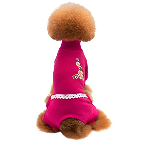 Yuncai Retro Haustier Hund Kleidung Weich Warm Hündchen Kostüm Baumwolle T-Shirt für Hunde Rose 2XL