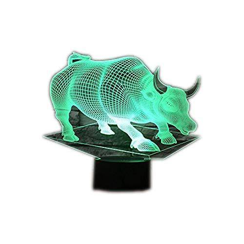 3D Illusion Lampe Neuheit optische LED Licht 7 Farben ändern Wall Street Bull Light Touch Schalter Tisch Schreibtischlampen für Kinder Schlafzimmer Geburtstag Geschenke