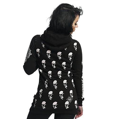 e186f6931773 Billig Yakuza Original Damen Allover Skull Flex Long Hoodie ...