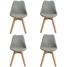 ajie lot de 4 chaise de cuisine salle manger design scandinave assise rembourre pieds en - Chaise Grise Scandinave