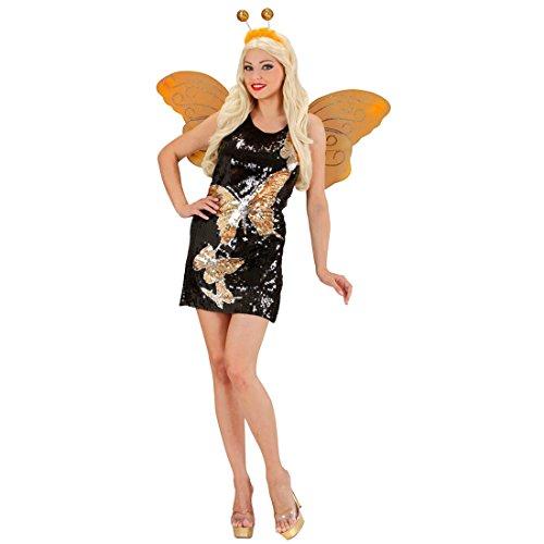 Amakando Paillettenkleid - S (34/36) - Kleid mit Pailletten Butterfly Disco Outfit Damenkostüm Mariposa Schmetterlinge Minikleid Schmetterling Kostüm Damen (Mariposa Kostüm)