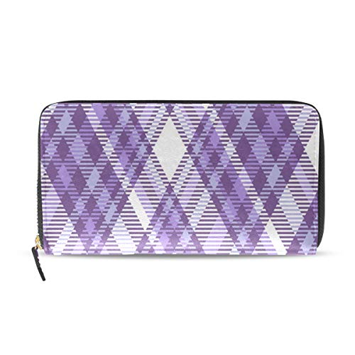 Enhusk Tartan Geometric Plaid Pattern Lange Passport Clutch Geldbörsen Zipper Wallet Case Handtasche Geld Organizer Tasche Kreditkarteninhaber Für Dame Frauen Mädchen Männer Reisegeschenk -