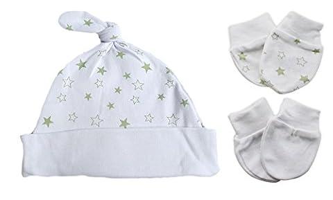 Baby Hat und 2Paar Fäustlinge 0–3Monate Gr. One Size, weiß (Yellow Moses Basket)