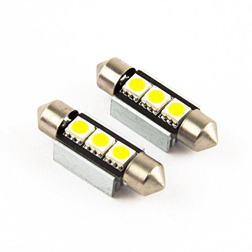 Preisvergleich Produktbild XENON WEISSE Kennzeichenbeleuchtung 2 x 36mm C5W 3 SMD / LED KALT WEISS Kennzeichenleuchte KFZ Auto birne soffite neu Jurmann®
