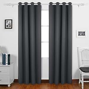deconovo lot de 2 rideaux souples solides occultants. Black Bedroom Furniture Sets. Home Design Ideas
