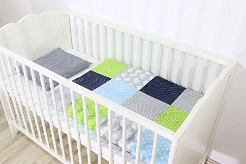 Conjunto de ropa de cuna de ULLENBOOM ® con elefantes azul verde juego de 2 piezas para cuna: funda...