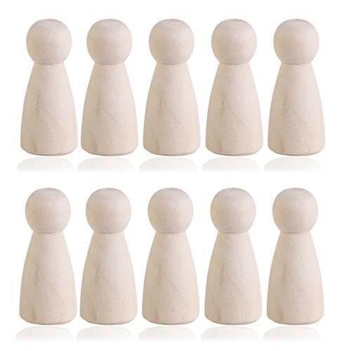 ULTNICE Wooden Peg Doll Cake Topper DIY Plain Blank Bride Figures for Wedding Party Decor Pack of 10