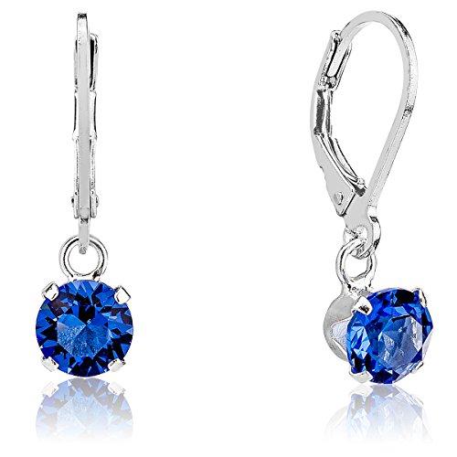DTP Silver - Orecchini Pendenti da donna - Argento 925 con Cristalli Swarovsky 6 mm - Colore Blue Zaffiro
