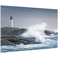 Bilderwelten Crédence en Verre - Storm Waves at The Lighthouse - Paysage 2:3, Peinture Murale revetement Mural Cuisine dosseret de Cuisine Impression sur Verre Fond de Cuisine, Dimension: 40cm x 60cm