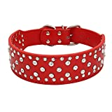 DWODNJAJ Pet Halskette, großer Kristall Diamant, Pu-Kragen, Hund Zubehör, Hundehalsband, Rot, M 61 * 5 (cm)