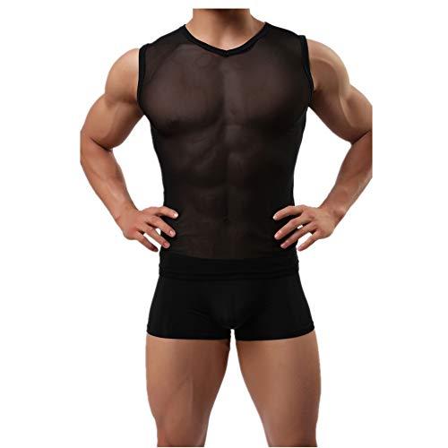 DOTBUY Transparent Shirt Herren, T-Shirt Tank Top Netzshirt Shirt Nachtwäsche Reizvoll Unterwäsche Glatt Gaze Slim Fit (XL, Schwarz) - Tank-top Nachtwäsche Shirt