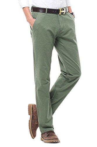 Pantaloni casual da uomo, straight fit, stile tinta unita, pantaloni da uomo con gambe dritte, verde militare, 31