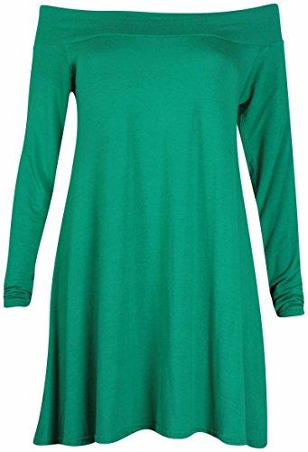 Pour Enlever Les épaules Mesdames Stretch à manches longues Mini robe évasée Swing longue tunique haut uni Vert jade