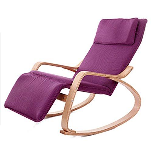 HWF Fauteuils à bascule Chaise à bascule Fauteuil inclinable Semelle étrangère Tissu en bois massif Intérieur Chaise créative (Couleur : D)