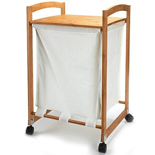 MSV Wäschesammler Bambus (BxHxT): 45 x 73 x 41 cm Wäschekorb aus Stoff mit einem Bambusgestell und Ablage zum Unterbringen von Wäsche als praktischer Wäschepuff mit seitlichen Griffen, natur