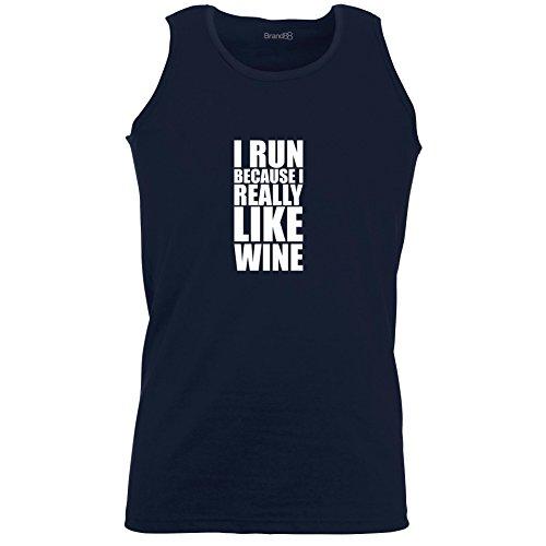 Brand88 - I Run Because I Really Like Wine, Unisex Athletic Weste Dunkel Blau