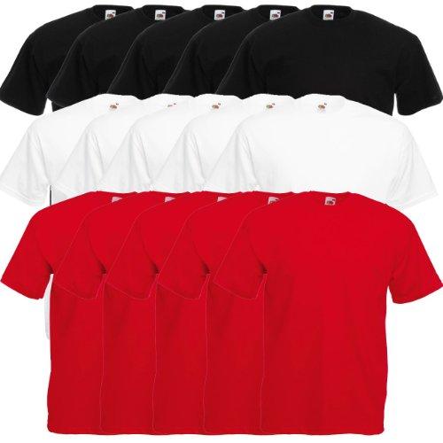 Fruit of the Loom Original Valueweight T Rundhals T-Shirt F140 5er 10er 15er 20er Pack 5x black 5x white 5x red