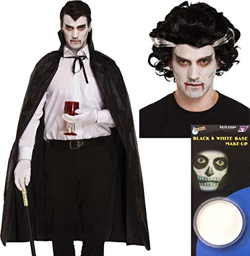 Männlich Kostüm Vampir - labreeze Perücke für Erwachsene, schwarzer Umhang, Vampir, Männlich, Gesichtsbemalung, Halloween, Vampir-Kostüm