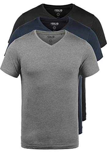 Solid Herren Polo-shirt (!Solid Portus T-Shirt Kurzarm Shirt Mit V- Ausschnitt Aus 100% Baumwolle 3er Pack, Größe:L, Farbe:3er-Box-4)
