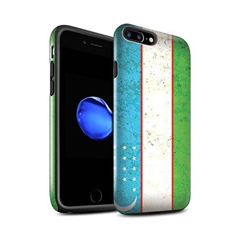 STUFF4 Glanz Harten Stoßfest Hülle / Case für Apple iPhone 8 Plus / Kuwait Muster / Asien Flagge Kollektion Usbekistan/Usbekistan